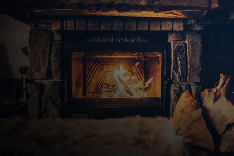 Newly refaced fireplace